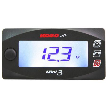 Horloge et voltmètre KOSO mini style race de 6.0v à 19.9Volts