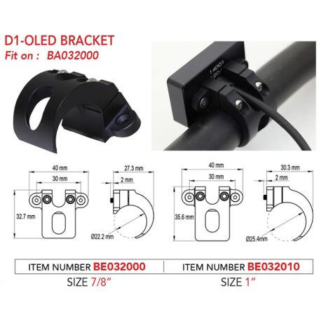 Support de guidon KOSO 22mm en aluminium pour compteur digital D1-Oled